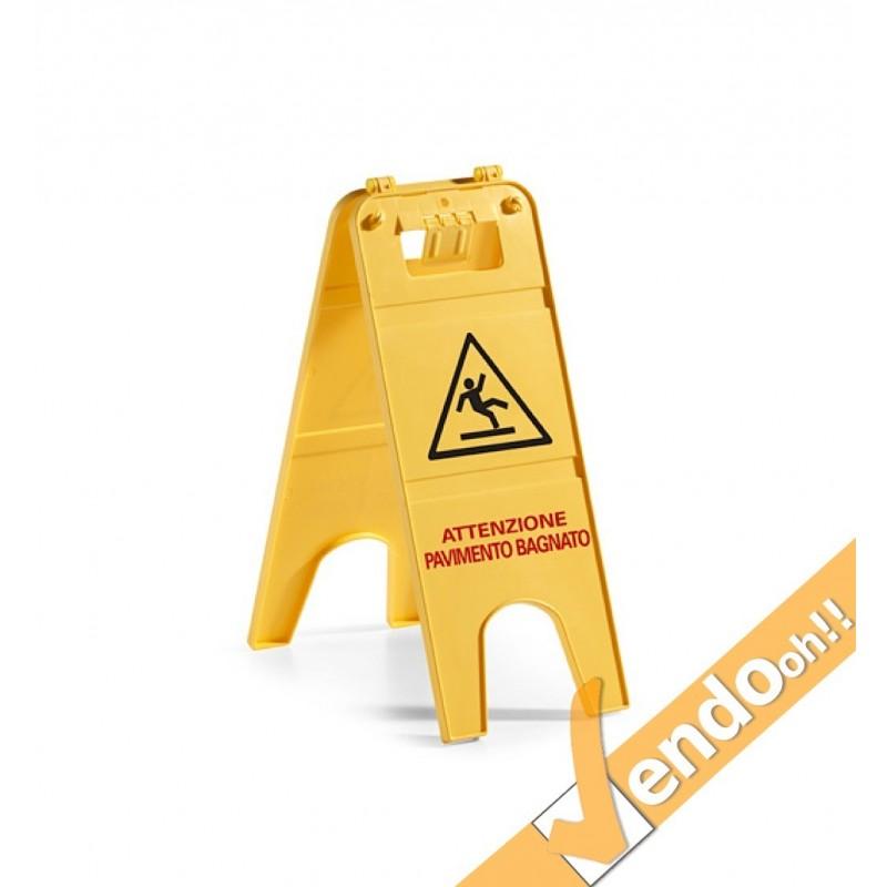 Segnale cartello attenzione pavimento bagnato tts - Cartello pavimento bagnato ...