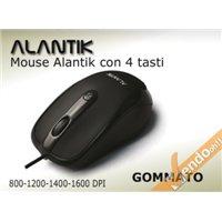 MOUSE MAUSE A FILO USB 4 TASTI COLORATO NERO OPACO GOMMATO PUNTATORE LASER
