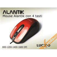 MOUSE MAUSE A FILO USB 4 TASTI COLORATO ROSSO LUCIDO PUNTATORE LASER 1600 DPI
