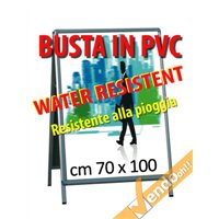 BUSTA IN PVC RESISTENTE ALL'ACQUA PIOGGIA ESPOSITORI CAVALLETTI F.TO 70X100