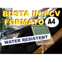 BUSTA IN PVC RESISTENTE ALL'ACQUA PIOGGIA ESPOSITORI CORNI CAVALLETTI F.TO A4