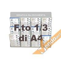 ESPOSITORE DA PARETE 1/3 DI A4 PORTA DEPLIANT IN PLEXIGLASS 12 TASCHE META023A