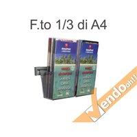 PORTA DEPLIANT A BINARIO DA PARETE 2 TASCHE F.TO 1/3 A4 GUIDA ALLUMINIO PDS704