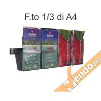 PORTA DEPLIANT A BINARIO DA PARETE 4 TASCHE F.TO 1/3 A4 GUIDA ALLUMINIO PDS705