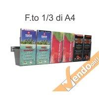 PORTA DEPLIANT A BINARIO DA PARETE 6 TASCHE F.TO 1/3 A4 GUIDA ALLUMINIO PDS706