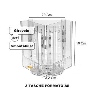 ESPOSITORE PORTA DEPLIANT GIREVOLE A 3 TASCHE FORMATO A5 DA BANCO TAVOLO AGENZIA