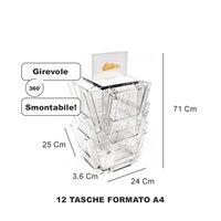 ESPOSITORE PORTADEPLIANT GIREVOLE A 12 TASCHE FORMATO A4 DA BANCO TAVOLO AGENZIA
