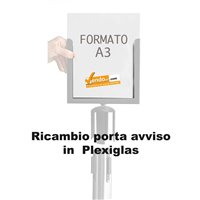 RICAMBIO PORTA COMUNICAZIONI IN PLEXIGLAS PORTA FORMATO A3 VERTICAE PER COLONNINA DELIMITA AREA